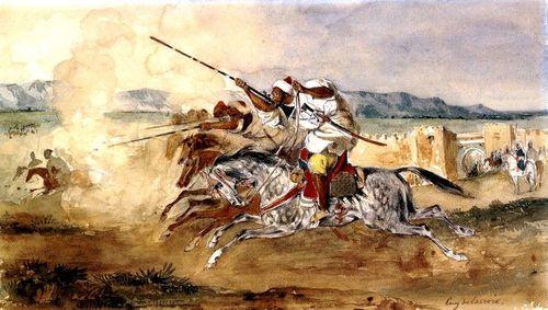 Eugène_Delacroix_-_Fantasia_ou_Jeu_de_la_poudre,_devant_la_porte_d'entrée_de_la_ville_de_Méquinez