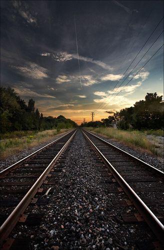 Train rails shot Yonge Street - Toronto by connie