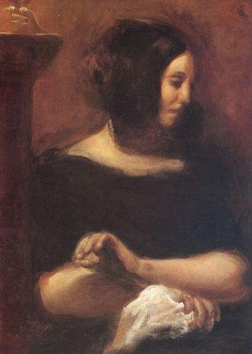 Georges Sand, portrayed by Eugène Delacroix