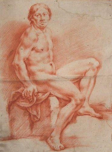 Sanguine_Giuseppe Diotti Dessin Sanguine. Belle Académie. Etude de Nu. de la 2me moitié du XVIIIe