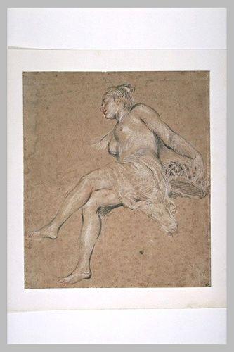 Sanguine_Antoine Watteau, Flore coll. Edouard et Jules Goncourt, coll. Isaac de Camondo, legs en 191