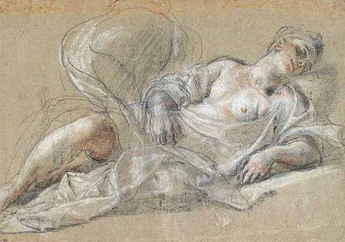 Sanguine_Ludovico Cardi dit il Cigoli 1559-1613Psyché endormie Sanguine, rehauts de blanc, papier g