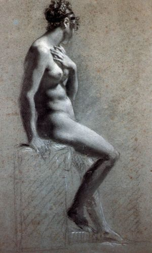 Prud'hon,%20Nu%20assis%20de%20c%F4t%E9,%20Seated%20Female%20Nude,%20Drawing,%20Private%20collection