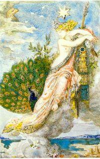 Le paon se plaignant à Junon_Gustave Moreau aquarelle